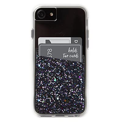 Case-Mate CM035992 - Stick On Credit Card Wallet - POCKETS - Ultra-slim Card Holder - Universal fit - Apple – iPhone – Samsung – Galaxy - and more – Black Iridescent Glitter