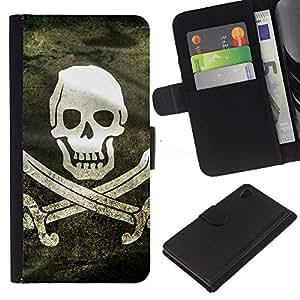 Bandera de pirata de Grunge - la tarjeta de Crédito Slots PU Funda de cuero Monedero caso cubierta de piel Para Sony Xperia Z4v / Sony Xperia Z4 / E6508