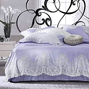 Simple French lace cotton bedding Princess style wedding of long-staple cotton bedding 4 Kit,King,2
