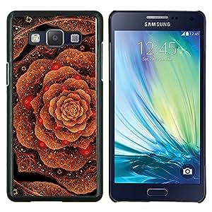 Patrón Col floral de cobre del oro de Bling- Metal de aluminio y de plástico duro Caja del teléfono - Negro - Samsung Galaxy A5 / SM-A500