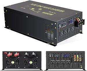 WZRELB 8000 Watt Max Continuous Power 16000 Watt Peak Heavy Duty Pure Sine Wave Inverter 12V DC to 120V AC 60HZ Truck/RV Converter Solar & Wind Power Supply for Home Camping Van