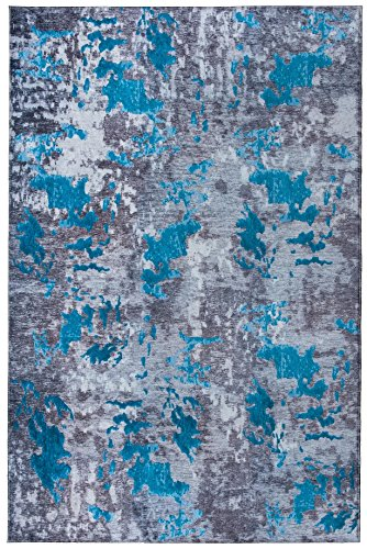 Mylife Rugs Bergamo Collection Contemporary Modern Non Slip Non-Skid Machine Washable Abstract Area Rug 4 x6 , Blue – Grey