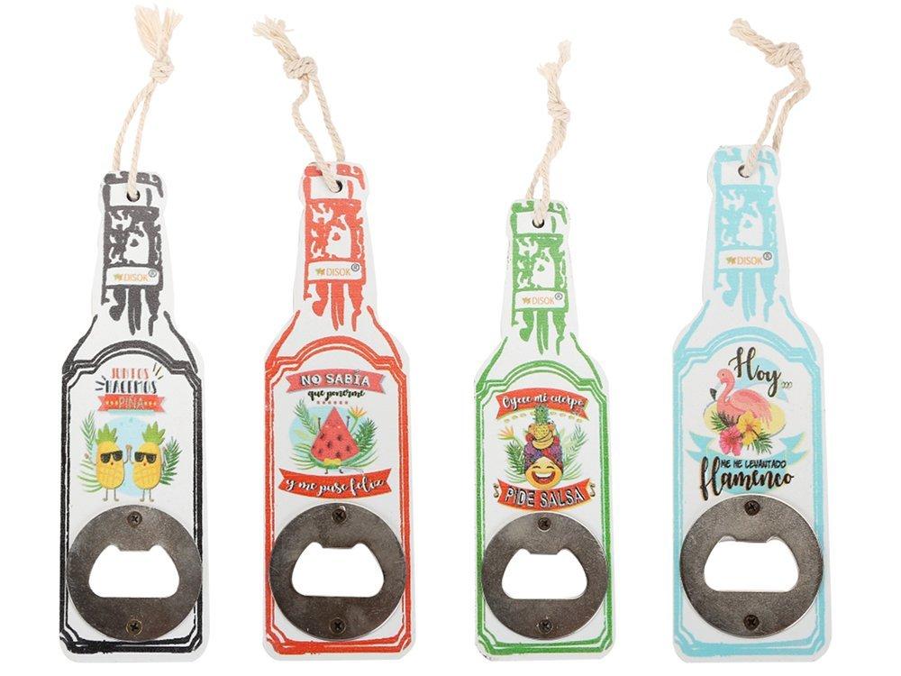 Bautizos y Comuniones Precio Unitario abre botellas originales y baratos para Detalles - Abridores Abrebotellas de Madera en Forma de Botella Dise/ño Tropical recuerdos y Regalos de Bodas