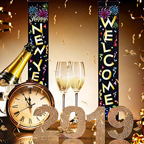 Blulu Happy New Year Decoration Set New Year Porch Sign Welcome New Year Banner Hanging Decoration for Indoor/Outdoor New Year Decoration New Year Party (Color 4)