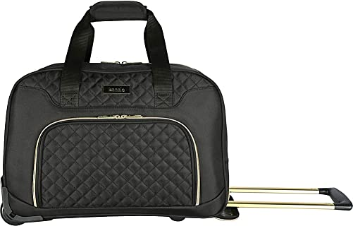 kensie 19 Rolling Fashion Duffel Tote, Black with Gold Color Option