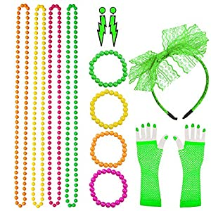 80s Costume Accessories for Women Lace Headband, Fishnet Gloves, Lightning Type Neon Earrings, Bracelet, and Beads