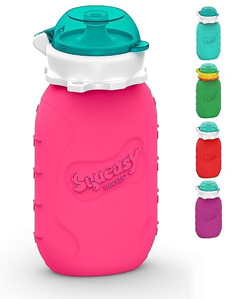 Squeasy Snacker, 180ml - Bolsa de Comida para Bebés Reutilizables | Para Batidos de Fruta
