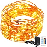 GDEALER String Lights Copper Wire 50ft 150LED Starry Fairy String Lights Dimmable Rope Lights Remote Control Copper...