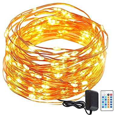 GDEALER String Lights Copper Wire 50ft 150LED Starry Fairy String Lights Dimmable Rope Lights Remote Control Copper Wire String Lights for Bedroom Home Indoor Party Wedding Christmas(warm white)(1)