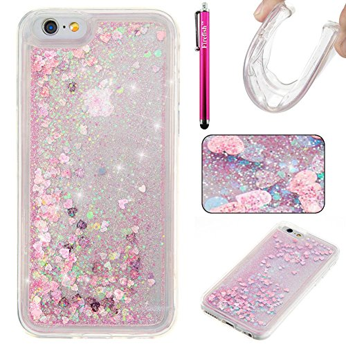 iPhone 7 Case, Firefish Slim Sparkle Shock Absorption Slim Bumper Cover Anti-Slip Soft Silicone Protective Skin for Girls Children Fits for Apple iPhone 7 -Pink