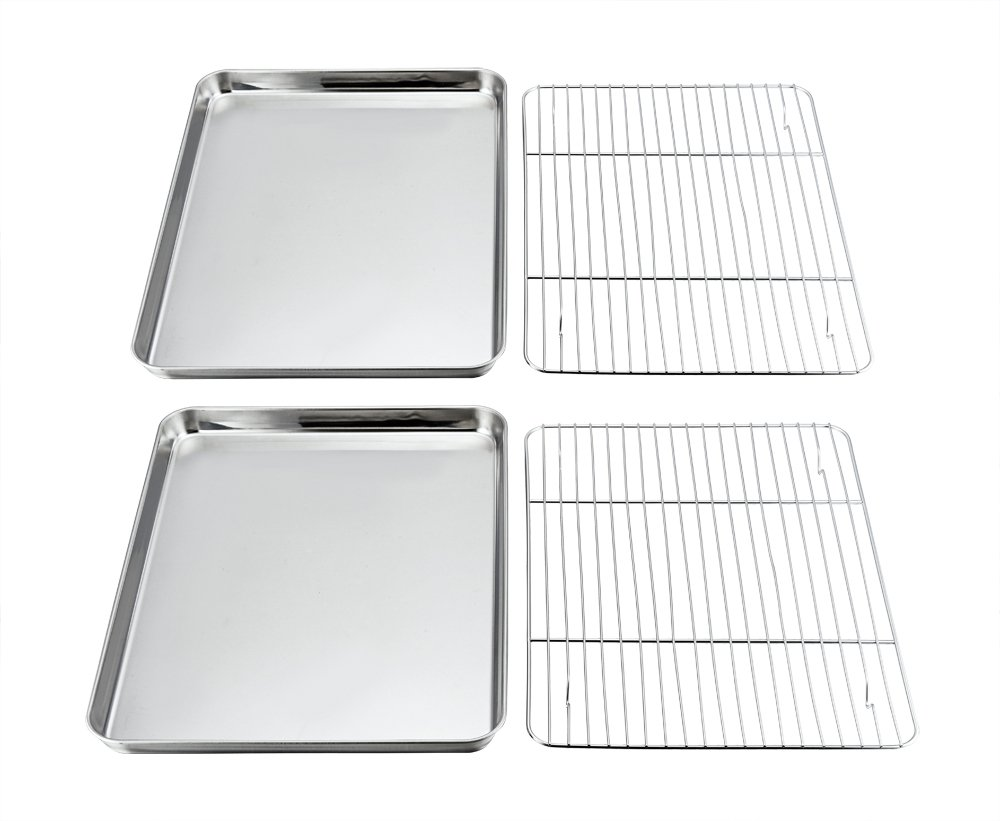 Baking Sheets and Rack Set, Pack of 4 (2 Sheet + 2 Rack), P&P Chef Stainless Steel Baking Pans Cookie Tray with Cooling Rack, Rectangle 16''x12''x1'', Non Toxic & Healthy, Mirror Polish & Easy Clean