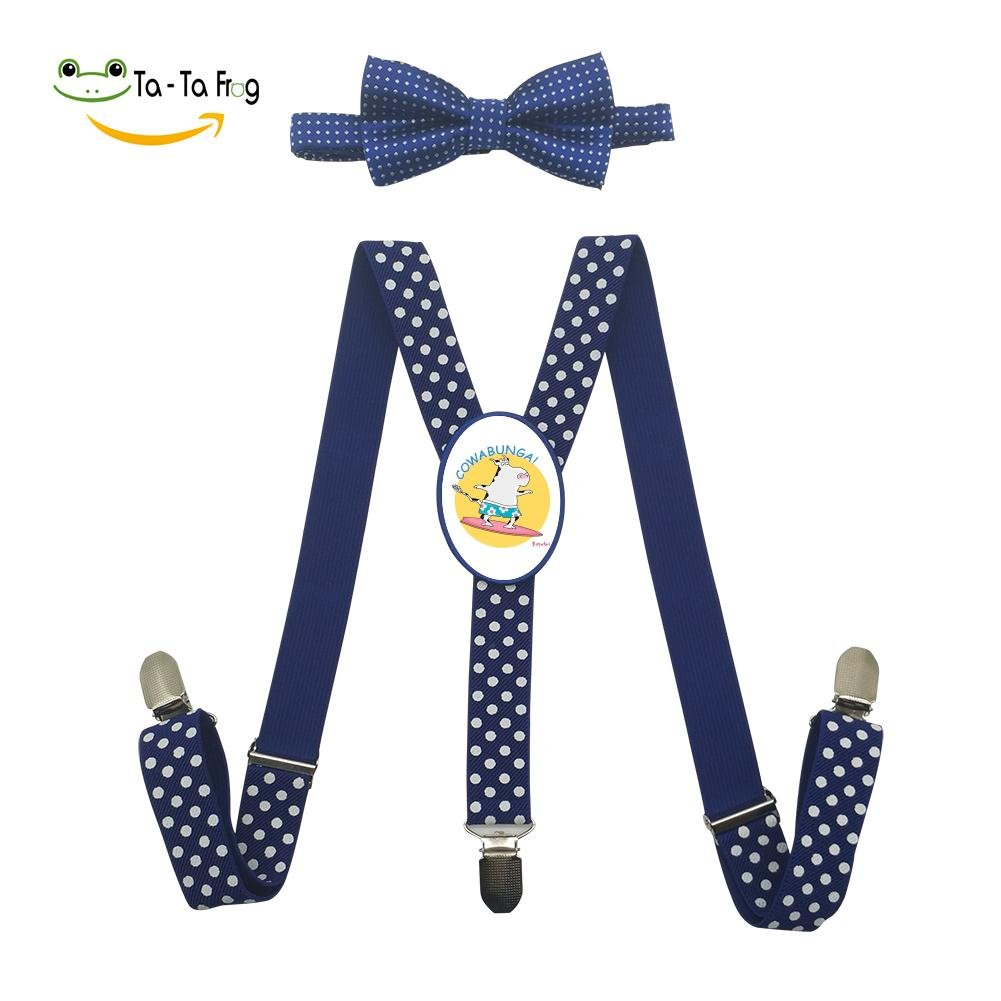 Xiacai Summer Cowabunga Suspender&Bow Tie Set Adjustable Clip-On Y-Suspender Children