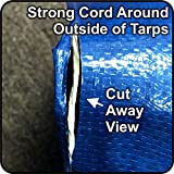 8' x 10' - Hercules Tent Shelter Tarp Cover Waterproof Tarpaulin Plastic Tarp Protection Sheet for Contractors, Campers, Painters, Farmers, Boats, Motorcycles, Hay Bales - Blue/Silver