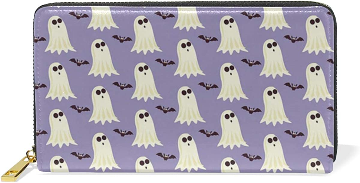 DEZIRO Halloween Pattern Lady Purse Zip Around Credit Card Case