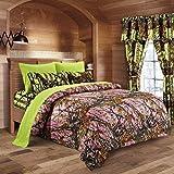 20 Lakes Camo Comforter, Sheet, Pillowcase Set (Queen, Pink - Neon Green)