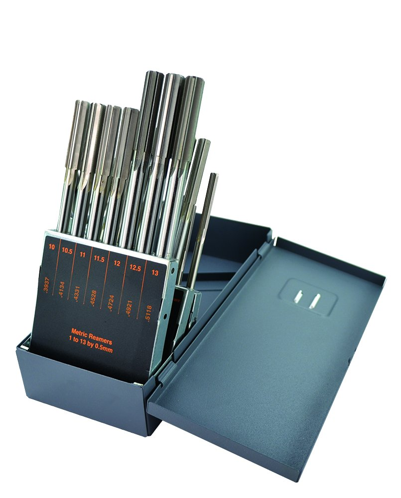 Morse Cutting Tools 23305 Metric Chucking Reamer Set, High-Speed Steel, 1 mm to 13 mm, 25-Pieces