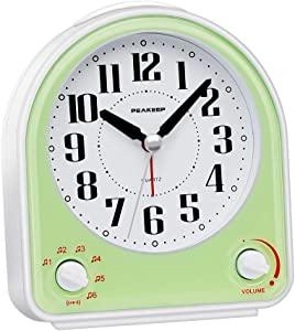 Peakeep Non-Ticking Silent Alarm Clock, Optional 7 Wake-up Sounds with Volume Control, Nightlight and Snooze, AA Battery Operated and Included (Green)