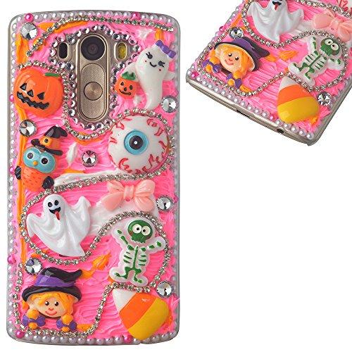 (Spritech(TM) 3D Handmade Crystal Phone Case for LG K7/LG Tribute 5,Helloween Style Monster Pumpkin Design Smartphone Cover)