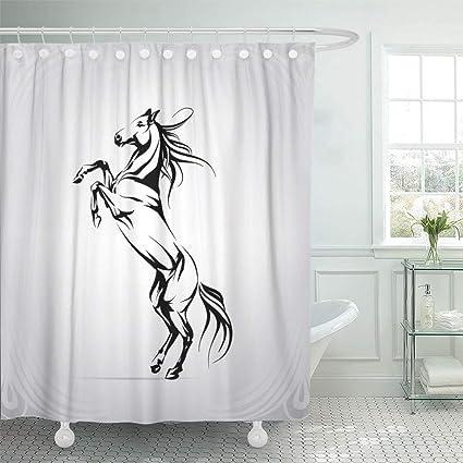 Emvency Shower Curtain Set Waterproof Adjustable Polyester Fabric Mustang Silhouette Of Horse On Racks Arabian Outline