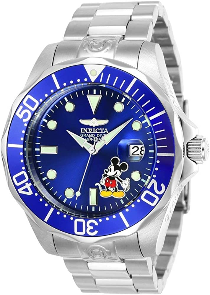 Invicta Men s Disney Limited Edition Automatic-self-Wind Diving Watch with Stainless-Steel Strap, Silver, 22 Model 24497