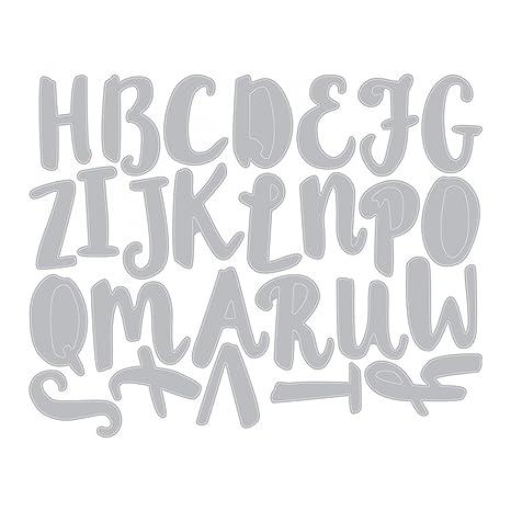 Sizzix Troquel, Abecedario en mayúsculas en caligrafía pincel , Acero, Multicolor: Amazon.es: Hogar