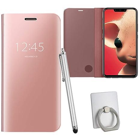 Ycloud Espejo Funda para Huawei P Smart Flip Espejo Cover Plegable Caso con Soporte Diseño Ultra-Delgado Oro Rosa Carcasa para Huawei P Smart Plus