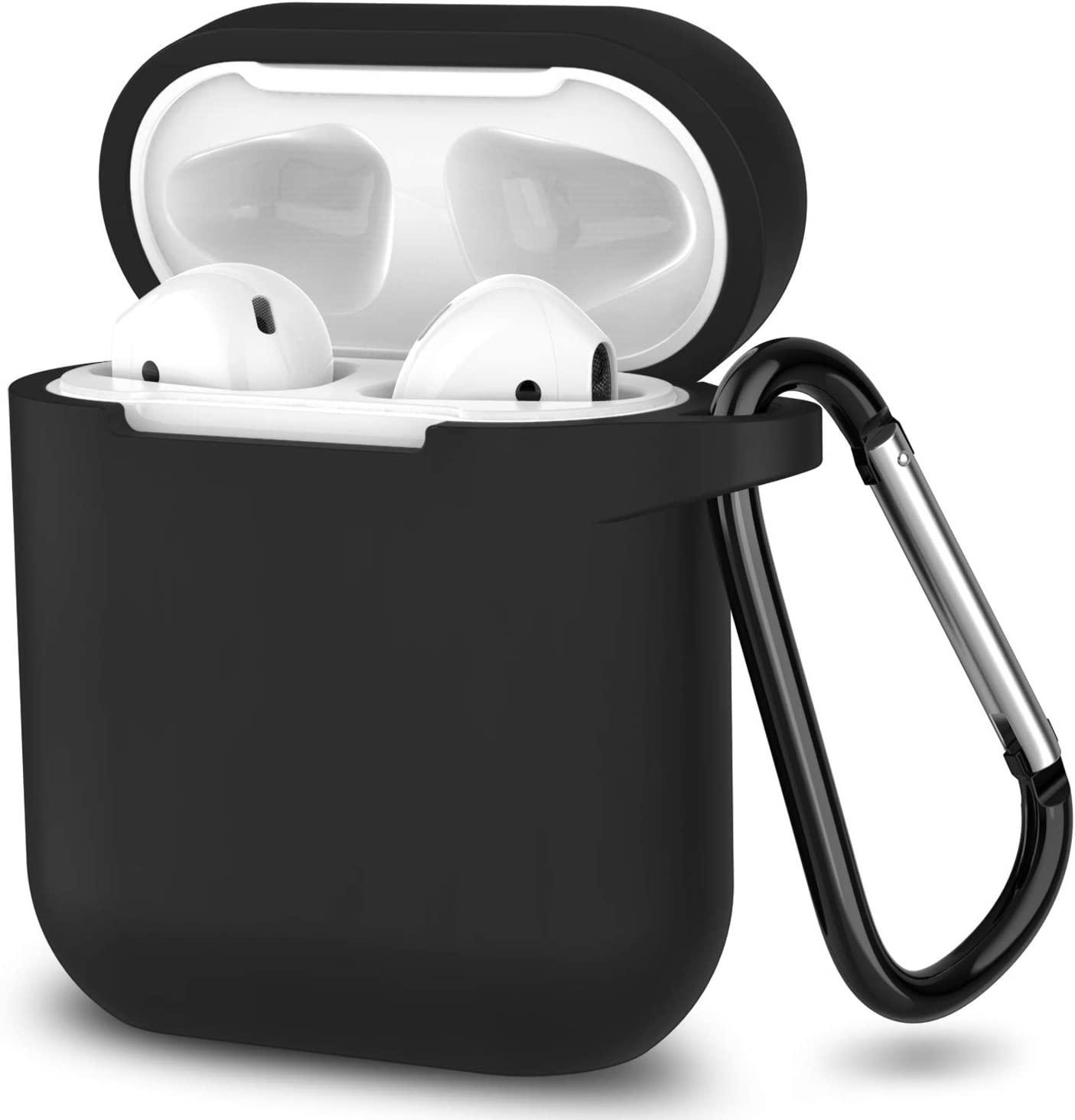 AirPods Case,SATLITOG Protective Silicone Cover Compatible with Apple AirPods 2 and 1(Not for Wireless Charging Case)(Black)
