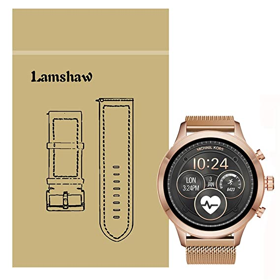 Lamshaw Band for Michael Kors Access Runway, Quick Release Milanese Metal Stainless Steel Mesh Replacement Strap for MK Access Runway Smartwatch (Rose ...