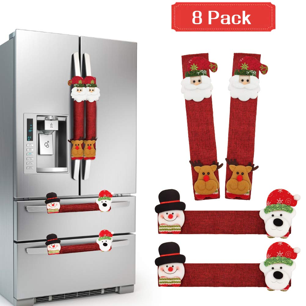 8 Pcs Refrigerator Door Handle Covers, BiaoGan Christmas Decorations Handle Cover Santa Snowman Kitchen Appliance Anti Skid Kitchen Fridge Microwave Oven Dishwasher Door Handle Covers