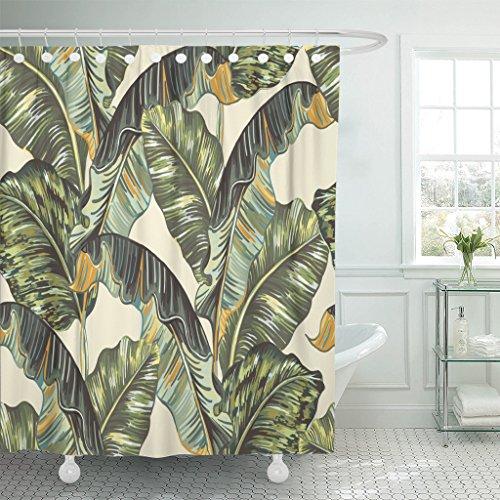 (Emvency Waterproof Shower Curtain Curtains Green Banana Tropical Palm Leaves Jungle Leaf Floral Pattern Beige Vintage Botanical 72