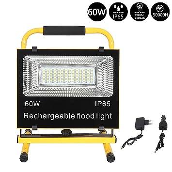 60W Flash LED Strahler Fluter Handlampe Akku Flutlicht Arbeitslampe Außen IP65