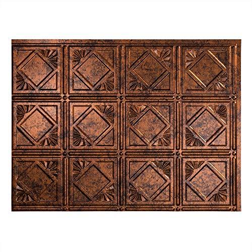 Copper Backsplash (FASÄDE Easy Installation Traditional Style/Pattern #4 Moonstone Copper Backsplash Panel for Kitchen and Bathrooms (18