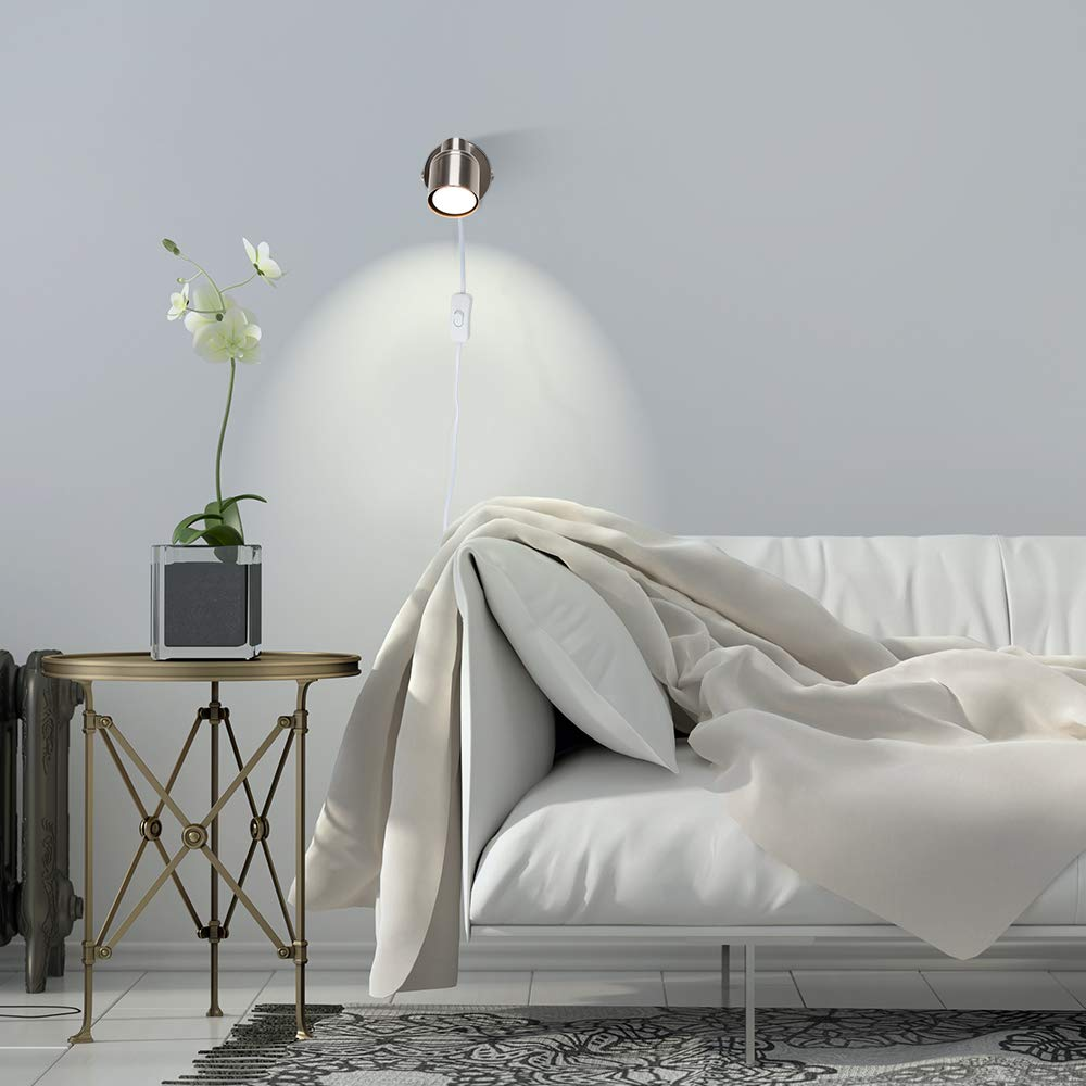 MiniSun singolo ed elegante con una finitura lucida e cromata nera ed un cavo una spina ed un interruttore Lampada da parete//da soffitto Faretto moderno