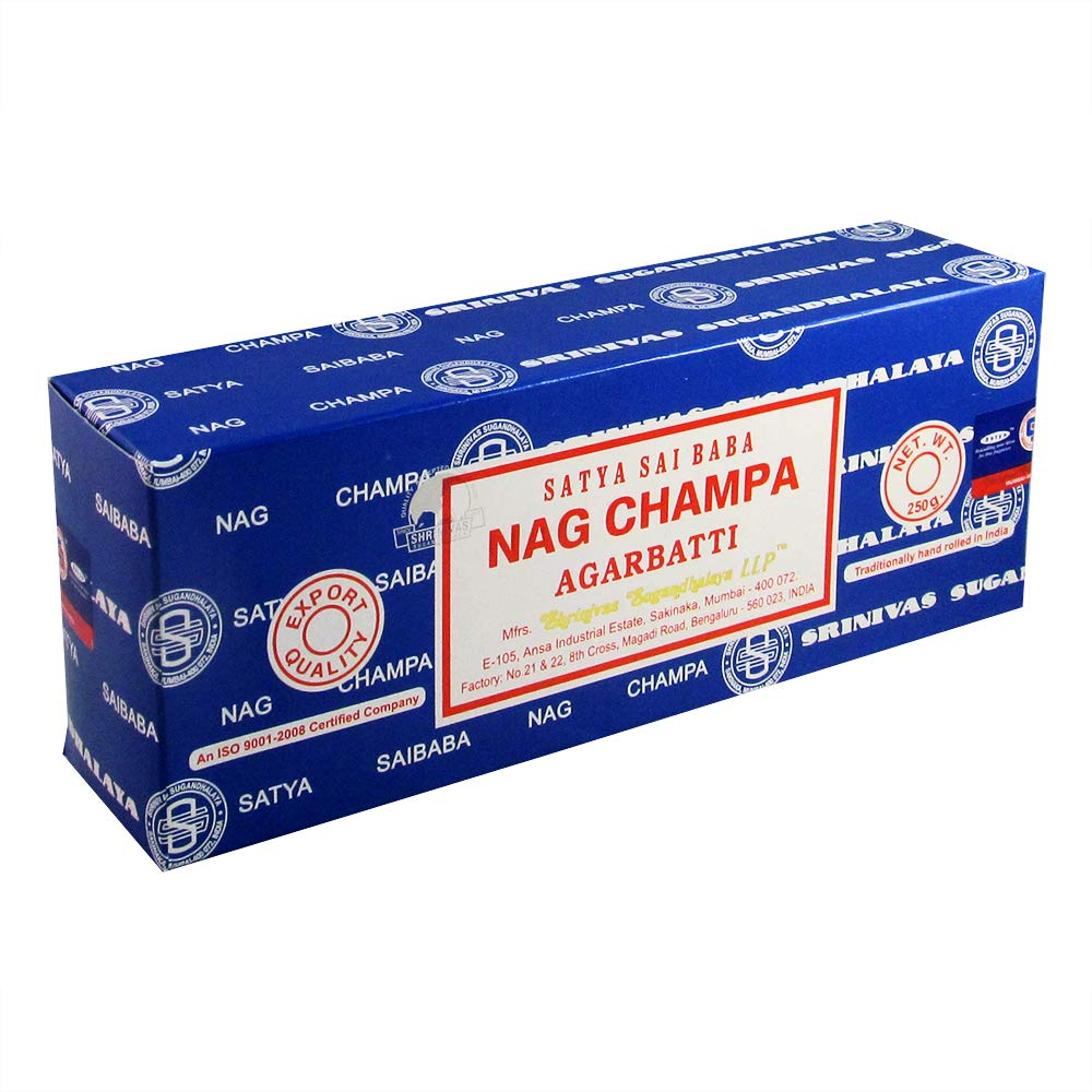 Satya Sai Baba Nag Champa Agarbatti Incense Sticks Box 250gms Hand Rolled Agarbatti Fine Quality Incense Sticks for Purification, Relaxation, Positivity