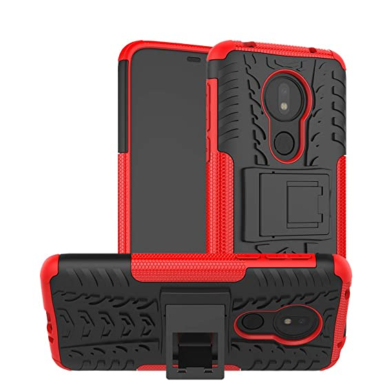 Boythink Compatible with Moto G7 Power Case, Moto G7 Supra Case, Dual Layer with Kickstand Shock Absorption Anti-Skip Heavy Armor Case Cover for Moto ...
