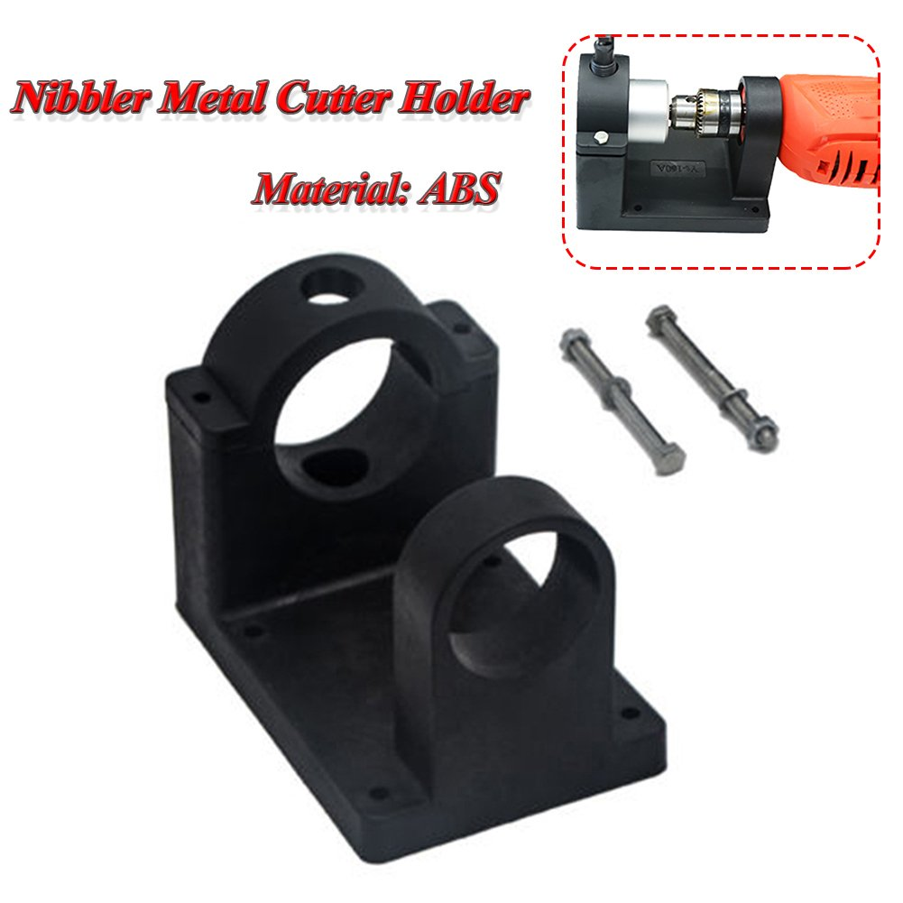 Double Headed Nibbler Metal Cutter Holder, Bracket Drill Attachment Wrench Parts Workshop Tool (Cutter Not Included)