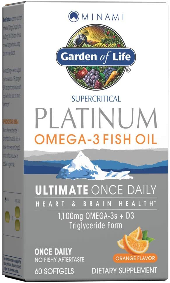 Garden of Life Minami Supercritical Platinum Omega 3 Fish Oil Supplement - Orange, 60 Softgels, Ultimate Once Daily Fish Oil Omega 3 for Heart & Brain Health, 1100Mg Omega-3S, 1,000 Iu Vitamin D3