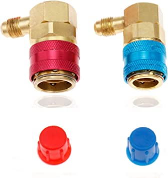 2 pieces A//C R134A High /& Low Side Charging Adapter 90 Degree Red blue 90° set
