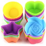 LetGoShop Silicone Cupcake Liners Reusable Baking Cups Nonstick Easy Clean Pastry Muffin Molds 4 Shapes Round, Stars…