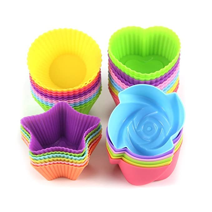 LetGoShop Silicone Cupcake Liners Reusable Baking Cups Nonstick Easy Clean Pastry Muffin Molds 4 Shapes Round, Stars, Heart, Flowers, 24 Pieces Colorful best silicone baking molds