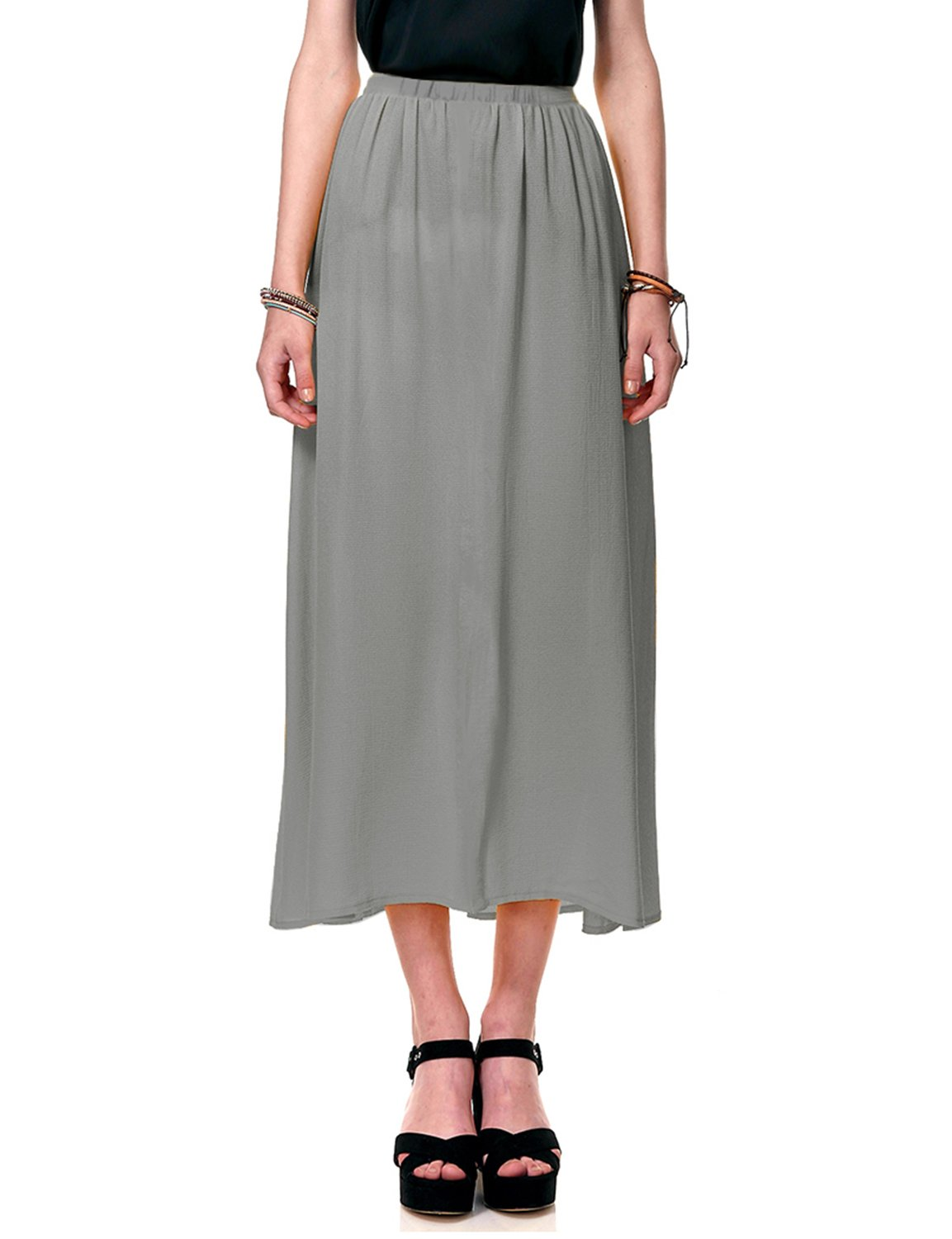 Regna X Boho for Women Maxi Comfort fit Beach wear Grey Extra Large Full Long Chiffon Dress Skirt