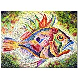 Live Art Decor - Watercolor Canvas Wall Art,Bright Fish Stylized with Huge Eye and Prickly Fins,Colorful Animal Canvas Print,Home Wall Decoration Fish Wall Art Ready to Hang -30''x 40''
