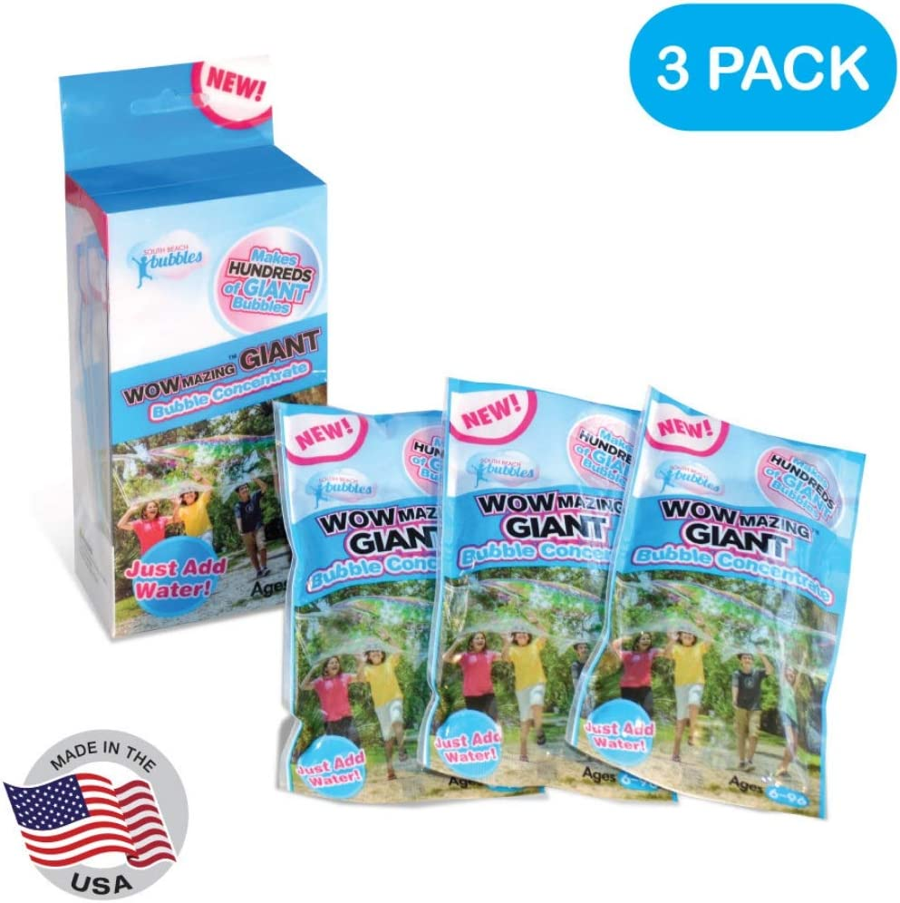 WOWMAZING Bubble Concentrate Solution (up to 2.3 Gallons) - Big Bubbles (3 Pouches of Bubble Refill) – Just Add Water – Made in USA