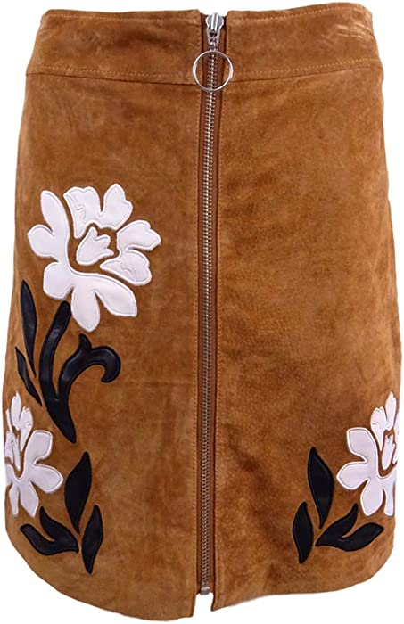 91b3a8284 INC Women's Suede Applique Mini Skirt (0, Brown) at Amazon Women's Clothing  store: