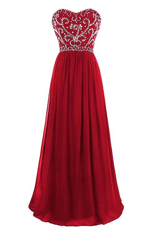 MsJune Prom Dresses A Line Sweetheart Beaded Lace up Back Floor Length Evening Dress