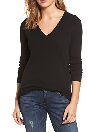 ed1c8e30e36 Viottis Women's V-Neck Cashmere Wool Ribbed Pullover Sweater Black S