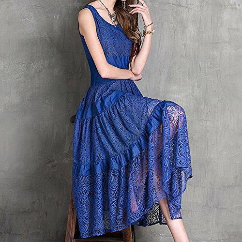 Kleid LHA8113 Maxi Blau DISSA Arm A Linie Damen Böhmen Ohne Partykleid Kleider 8x7q66Ow
