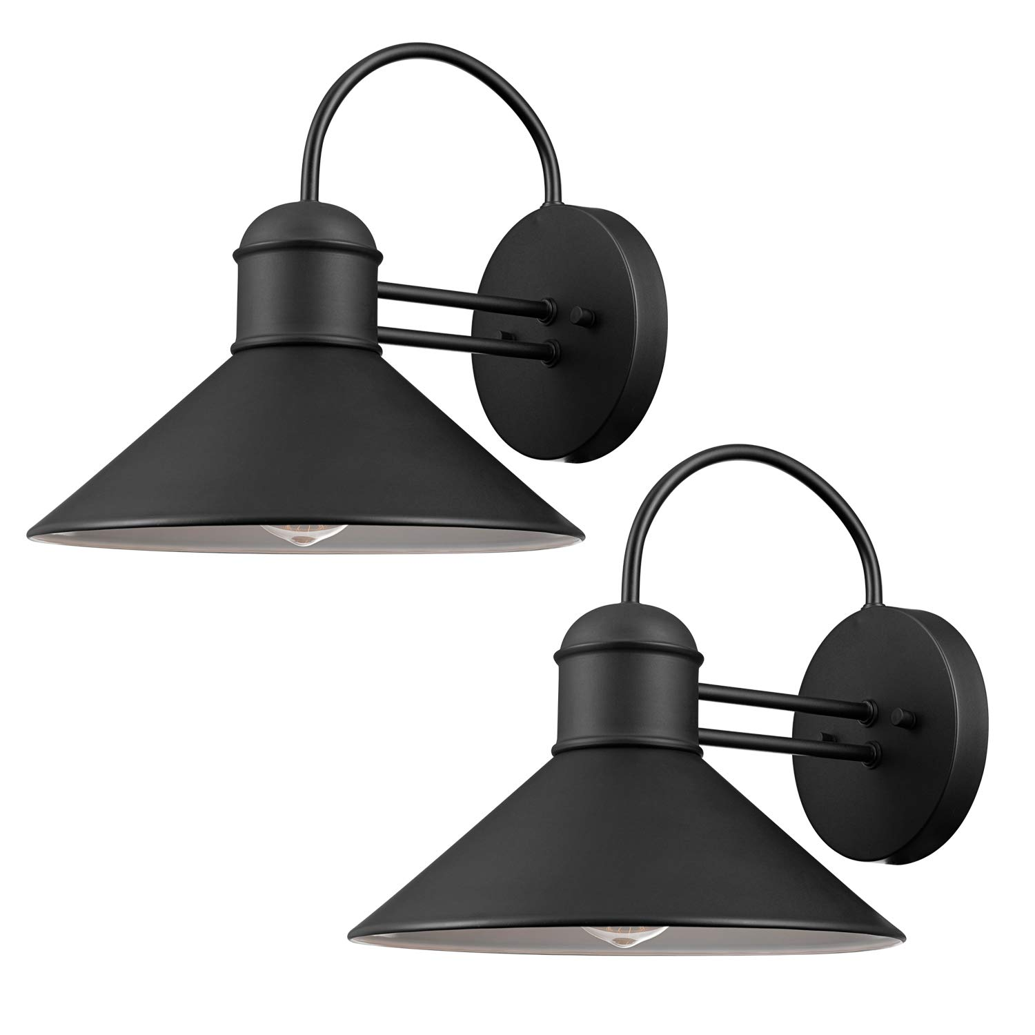 Globe Electric 44165 Sebastien Outdoor Wall Sconce, Black Finish, 2-Pack