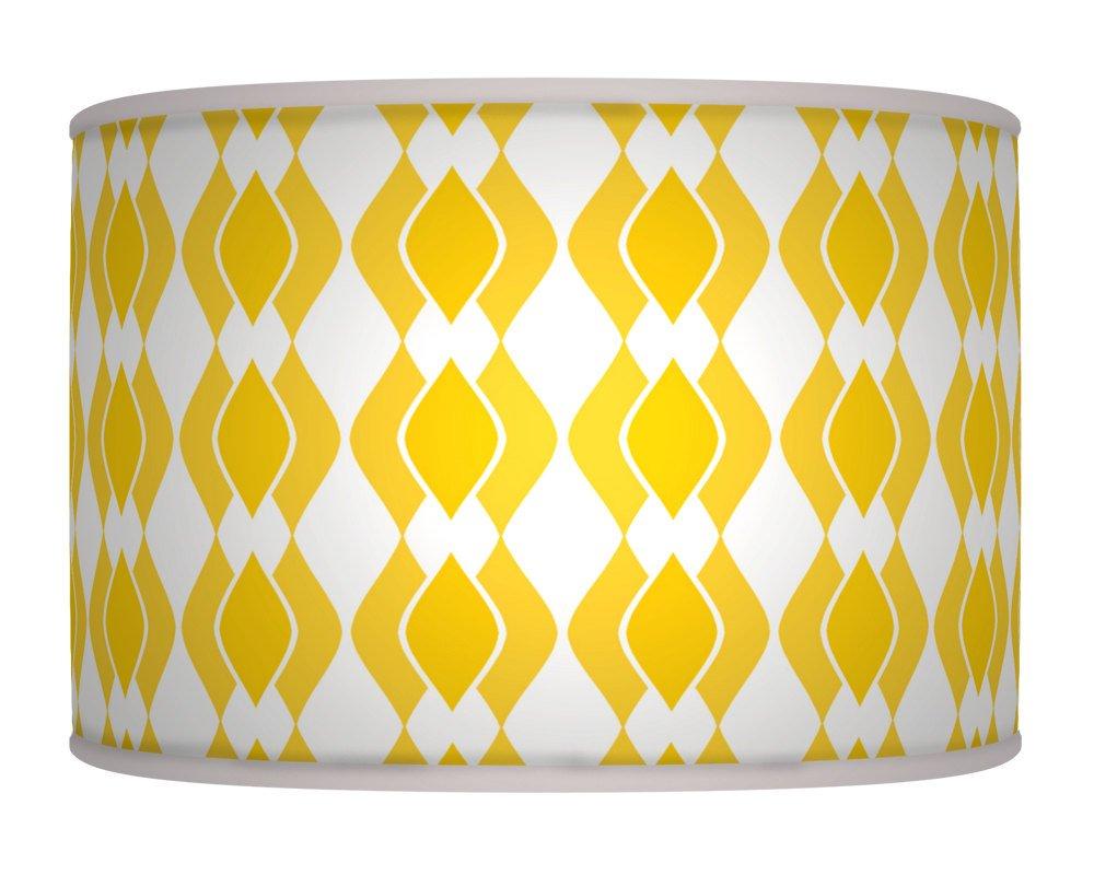 30cm diamant jaune fait à la main Motif géométrique rétro style lampe abat-jour tambour en tissu imprimé sol ou plafond Pendentif abat-jour 314