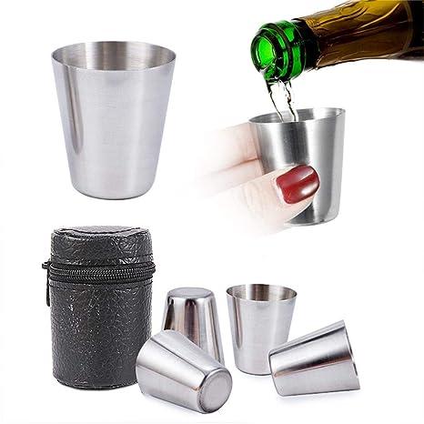 Amazon.com: Salver - Juego de 4 vasos de vino de acero ...